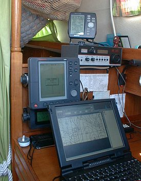 The chart table began to look decidedly high-tech during the calm days.